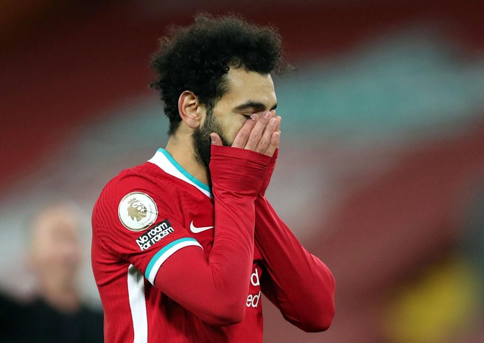 Mohamed Salah reacts after defeat to Burnley (Getty)