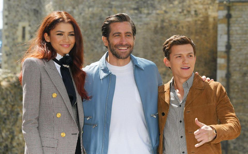 <p>Zendaya, Jake Gyllenhaal and Tom Holland attend a photocall for <em>Spider-Man: Far From Home</em> at the Tower of London on June 17, 2019 in London, England.</p>