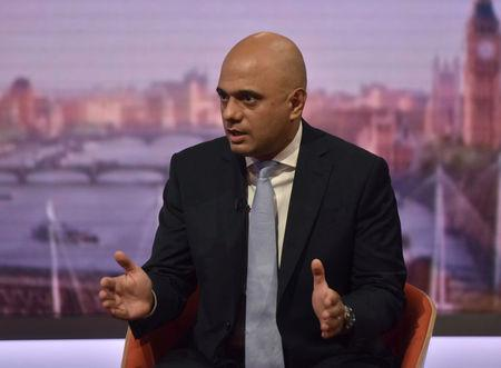 Britain's Home Secretary Sajid Javid attends the BBC's Andrew Marr show in London, June 3, 2018. Jeff Overs/BBC Handout via REUTERS