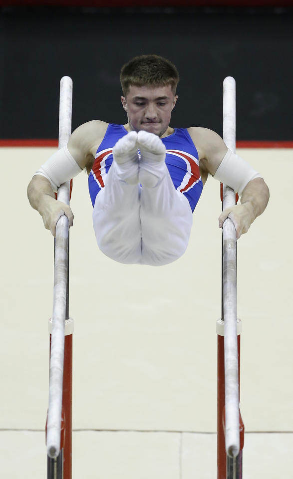 Britain Gymnastics - World Cup of Gymnastics - The O2 Arena, London - 8/4/17 Sam Oldham of Great Britain in action on the parallel bars  Action Images via Reuters / Matthew Childs Livepic