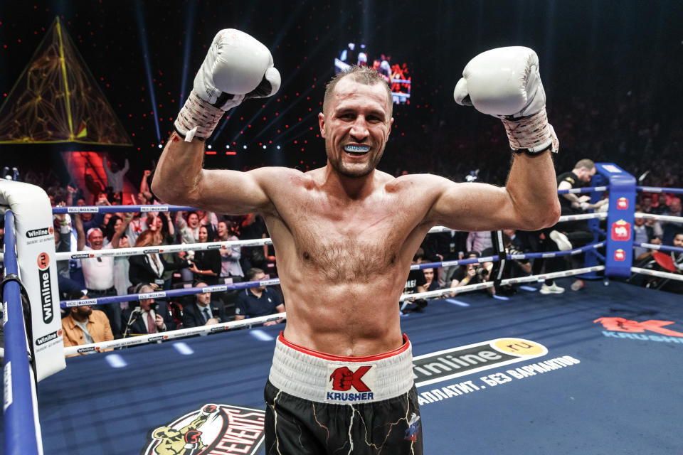 FILE - In this Saturday, Aug. 24, 2109 file photo, Sergey Kovalev of Russia celebrates after defeating Anthony Yarde of Britain during their WBO light heavyweight title bout in Chelyabinsk, Russia. Sergey Kovalev will fight Canelo Alvarez, Saturday, Nov. 2, 2019 at the MGM Grand in Las Vegas. (AP Photo/Anton Basanaev, File)