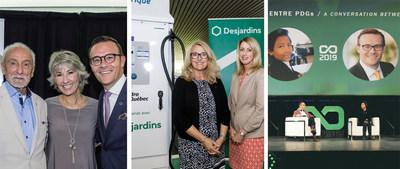AN ACTIVE AND INVOLVED GROUP. Third-quarter achievements included the contribution to Fondation Yvon Deschamps, the inauguration of the first urban vehicle-charging superstation in Quebec, and the fourth edition of the Cooperathon. (CNW Group/Desjardins Group)