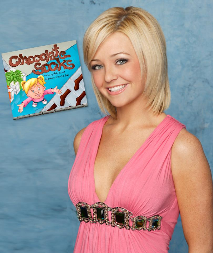 "Holly Durst, Children's Book Author<br><br>  Back on ""<a href=""http://tv.yahoo.com/bachelor/show/3018"">Bachelor</a>"" Season 12, Holly Durst was billed as a children's book author. After winning ""<a href=""http://tv.yahoo.com/bachelor-pad/show/45815"">Bachelor Pad</a>"" Season 2 with ex-fiancé Michael Stagliano, Holly explained that she had actually written several children's books that could not be published because of financial restrictions. Now, she's using her half of the $250,000 prize to publish those books, starting with the newly released ""Chocolate Socks,"" which is about her two favorite things: chocolate and socks. Like they say: Write what you know!"