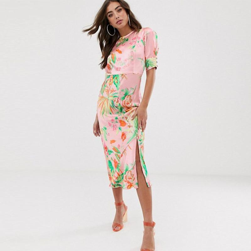 396150d309a ASOS Design Bias Midi Dress with Puff Sleeves in Satin Tropical Print (£42)