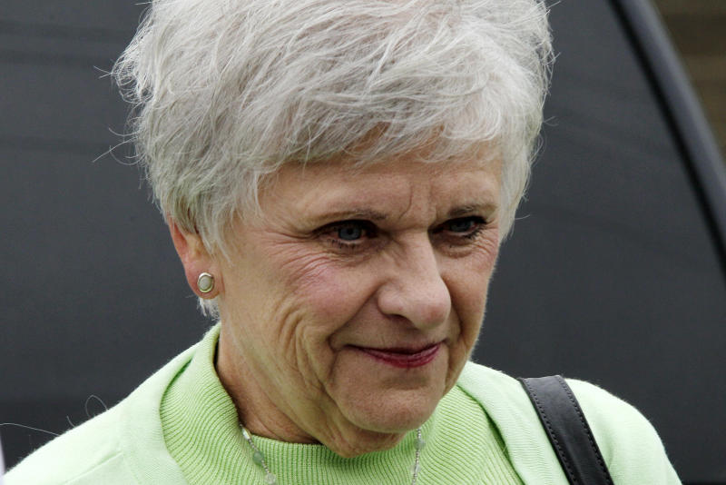 Dorothy Sandusky, wife of former Penn State University assistant football coach Jerry Sandusky, arrives at the Centre County Courthouse in Bellefonte, Pa., Tuesday, June 19, 2012. Jerry Sandusky is charged with 51 counts of child sexual abuse involving 10 boys over a period of 15 years. (AP Photo/Gene J. Puskar)