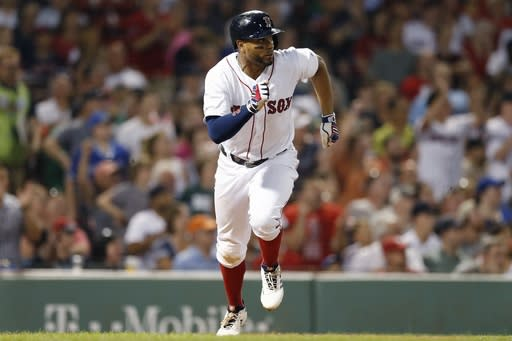 Boston Red Sox's Xander Bogaerts runs on his RBI single during the fifth inning of the team's baseball game against the Toronto Blue Jays in Boston, Tuesday, July 16, 2019. (AP Photo/Michael Dwyer)
