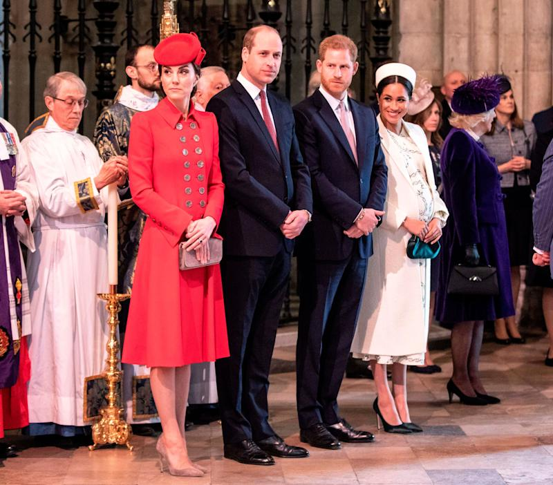 Catherine, Duchess of Cambridge, Prince William, Prince Harry and Meghan, Duchess of Sussex attend the Commonwealth Day service at Westminster Abbey in London on March 11.  (Photo: RICHARD POHLE via Getty Images)