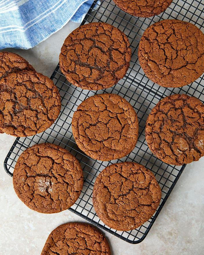 """<p>Big, gingery, and extra extra chewy. </p><p>Get the recipe from <a href=""""https://www.delish.com/cooking/recipe-ideas/a35045861/gingersnap-cookies-recipe/"""" rel=""""nofollow noopener"""" target=""""_blank"""" data-ylk=""""slk:Delish"""" class=""""link rapid-noclick-resp"""">Delish</a>.</p>"""