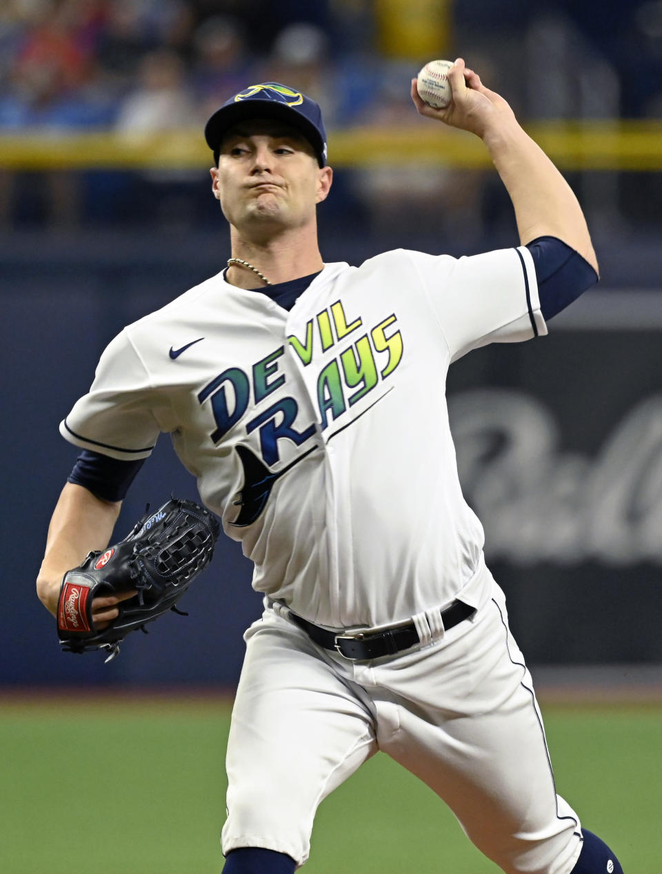 Tampa Bay Rays starter Shane McClanahan pitches against the Miami Marlins during the first inning of a baseball game Saturday, Sept. 25, 2021, in St. Petersburg, Fla. (AP Photo/Steve Nesius)