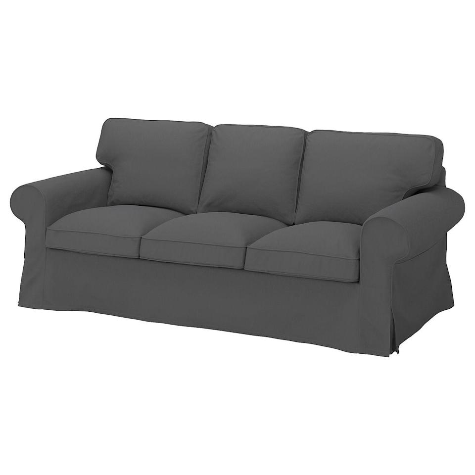 """<p><strong>IKEA</strong></p><p>ikea.com</p><p><strong>$179.00</strong></p><p><a href=""""https://go.redirectingat.com?id=74968X1596630&url=https%3A%2F%2Fwww.ikea.com%2Fus%2Fen%2Fp%2Fuppland-cover-for-sofa-hallarp-gray-90472774%2F&sref=https%3A%2F%2Fwww.bestproducts.com%2Fhome%2Fdecor%2Fg2733%2Fbest-sofa-couch-covers-and-slipcovers%2F"""" rel=""""nofollow noopener"""" target=""""_blank"""" data-ylk=""""slk:Shop Now"""" class=""""link rapid-noclick-resp"""">Shop Now</a></p><p>For those who are considering a move or a massive style redo, you can now match your sofa to the rest of your decor (instead of vice versa!). </p><p>Nearly <a href=""""https://go.redirectingat.com?id=74968X1596630&url=https%3A%2F%2Fwww.ikea.com%2Fus%2Fen%2Fcat%2Fsofa-covers-10664%2F&sref=https%3A%2F%2Fwww.bestproducts.com%2Fhome%2Fdecor%2Fg2733%2Fbest-sofa-couch-covers-and-slipcovers%2F"""" rel=""""nofollow noopener"""" target=""""_blank"""" data-ylk=""""slk:every fabric-upholstered IKEA couch"""" class=""""link rapid-noclick-resp"""">every fabric-upholstered IKEA couch</a> has its own sofa cover available in a variety of shades, including the UPPLAND that's pictured here, so you can opt for a subtle or statement look.</p>"""