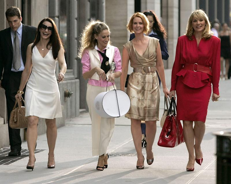 Kristin Davis, Sarah Jessica Parker, Cynthia Nixon, and Kim Cattrall on location for 'Sex and the City: The Movie' on September 21, 2007, in New York City. The TV show debuted in 1998. (Photo by Brian Ach/WireImage)