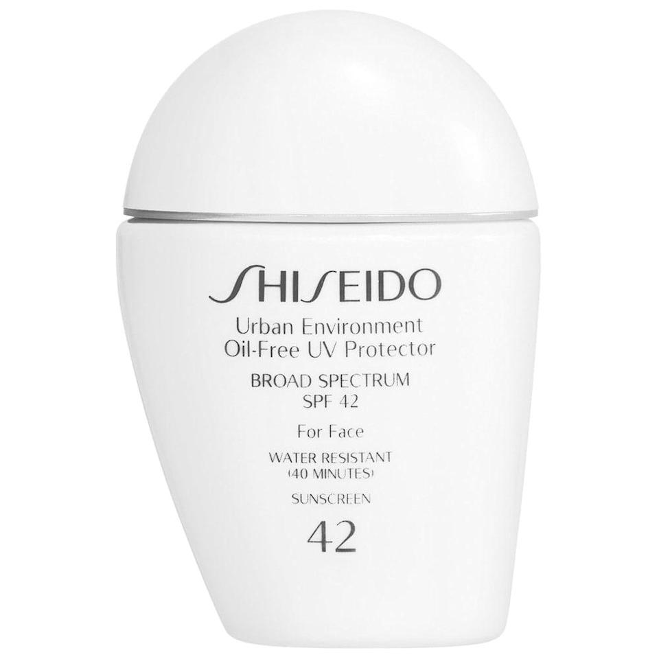 <p>If you have oily skin, you'll love the <span>Shiseido Urban Environment Oil-Free UV Protector Broad Spectrum Face Sunscreen SPF 42</span> ($35). It's lightweight and gives you a matte finish.</p>
