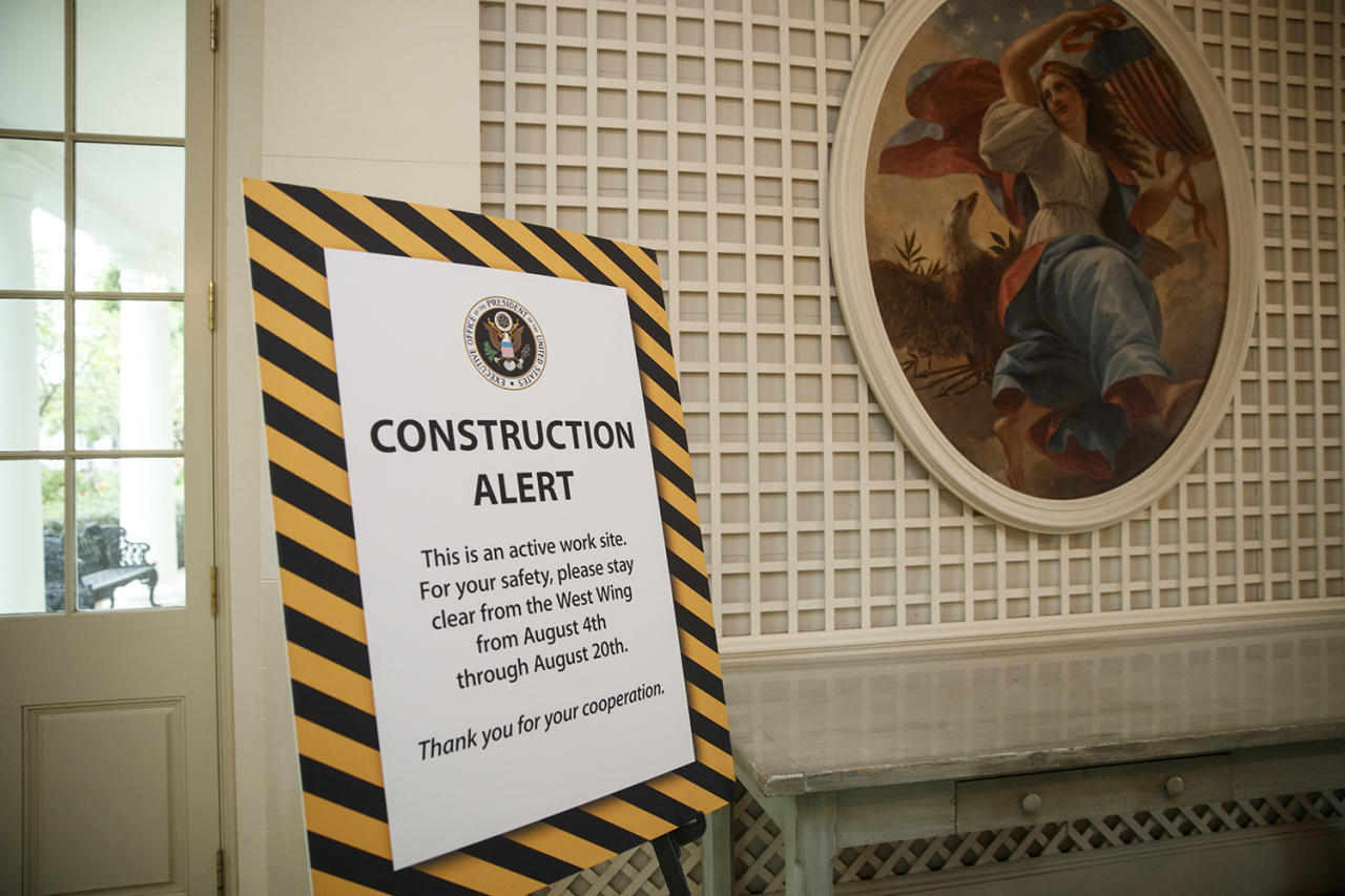 <p>A sign in the Palm Room of the White House in Washington alerts visitors as the West Wing is undergoing renovations while President Donald Trump is spending time at his golf resort in New Jersey, Friday, Aug. 11, 2017. (AP Photo/J. Scott Applewhite) </p>