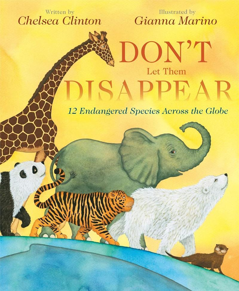 "Chelsea Clinton's ""Don't Let Them Disappear"" details 12 species of endangered animals around the world and shares ways to help prevent their extinction. <i>(Available <a href=""https://www.amazon.com/Dont-Them-Disappear-Chelsea-Clinton/dp/0525514325"" target=""_blank"" rel=""noopener noreferrer"">here</a>)</i>"