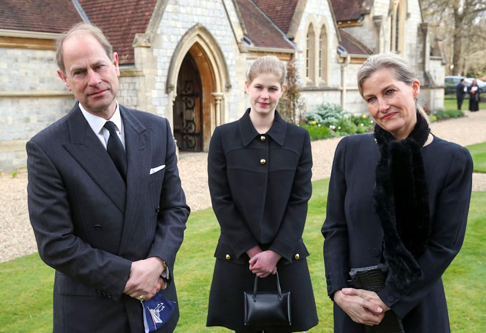 Britain's Prince Edward, Earl of Wessex  Britain's Sophie, Countess of Wessex, and Britain's Lady Louise Windsor