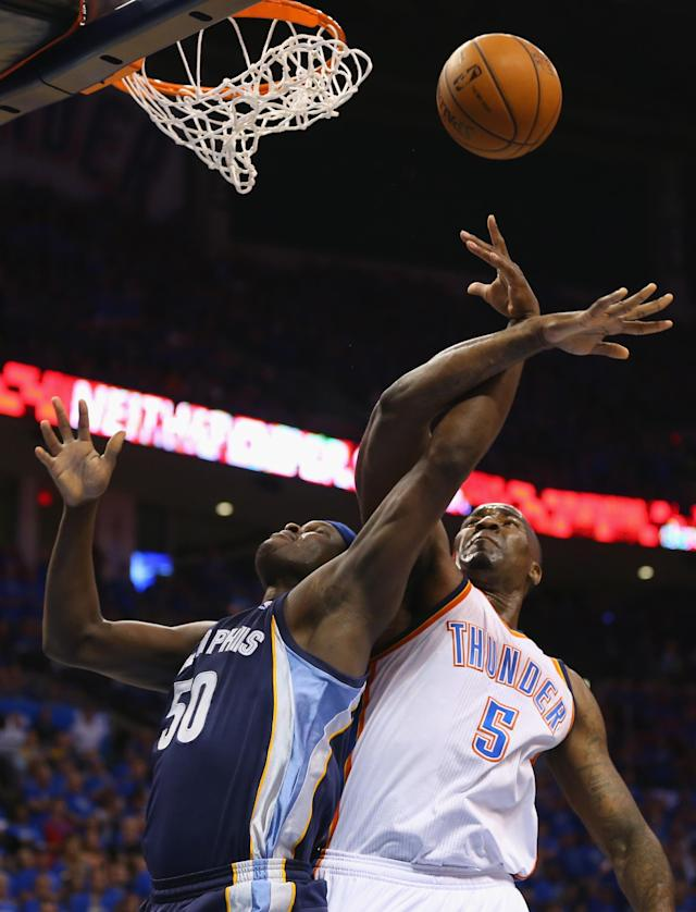 OKLAHOMA CITY, OK - APRIL 19: Zach Randolph #50 of the Memphis Grizzlies is fouled by Kendrick Perkins #5 of the Oklahoma City Thunder in Game One of the Western Conference Quarterfinals during the 2014 NBA Playoffs at Chesapeake Energy Arena on April 19, 2014 in Oklahoma City, Oklahoma. NOTE TO USER: User expressly acknowledges and agrees that, by downloading and or using this photograph, User is consenting to the terms and conditions of the Getty Images License Agreement. (Photo by Ronald Martinez/Getty Images)