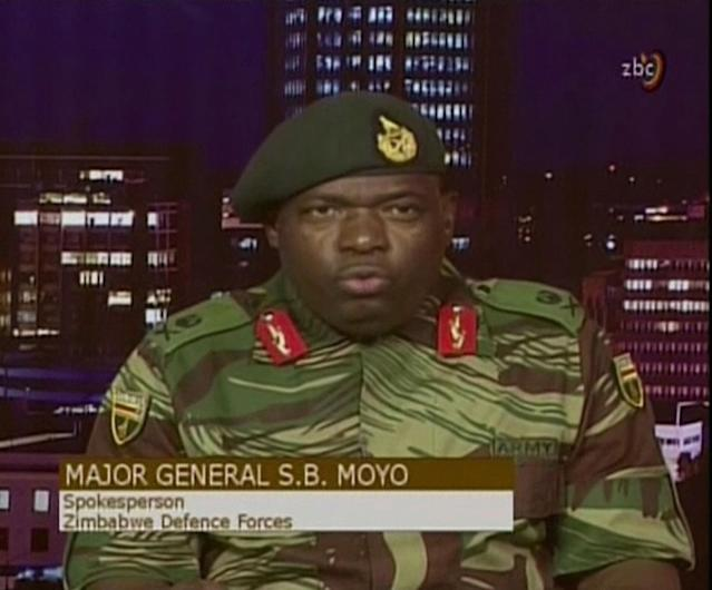 <p>In this image made from video, Major Gen. S.B. Moyo, Spokesperson for the Zimbabwe Defense Forces addresses to the nation in Harare, Zimbabwe Wednesday, Nov. 15, 2017. (Photo: ZBC via AP) </p>