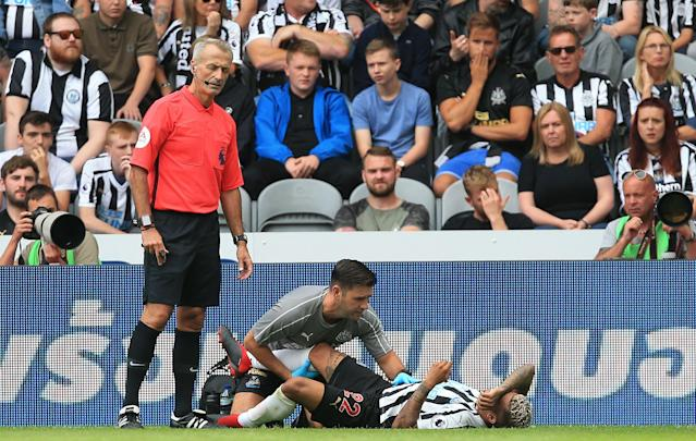 DeAndre Yedlin was injured in the 90th minute of Newcastle's Premier League opener against Tottenham. (Getty)