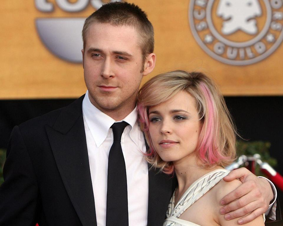 """<p>It's been said that Rachel McAdams and Ryan Gosling <a href=""""https://www.bustle.com/p/why-did-ryan-gosling-rachel-mcadams-break-up-lets-take-a-walk-down-history-lane-40003"""" rel=""""nofollow noopener"""" target=""""_blank"""" data-ylk=""""slk:didn't get along"""" class=""""link rapid-noclick-resp"""">didn't get along</a> on the set of 2003's The Notebook, but passion comes in many forms. While the two played on-screen lovers, they took it off-screen as well. The world was extremely interested in their romance, which may be one reason it ended in 2007. </p><p>'I had two of the greatest girlfriends of all time,' <a href=""""https://www.huffpost.com/entry/ryan-gosling-had-had-two-great-girlfriends-wants-babies_n_966144"""" data-ylk=""""slk:Ryan said"""" class=""""link rapid-noclick-resp"""">Ryan said</a>. 'I haven't met anybody who could top them. .... Show business is the bad guy. When both people are in show business it's too much show business. It takes all of the light, so nothing else can grow.'</p>"""