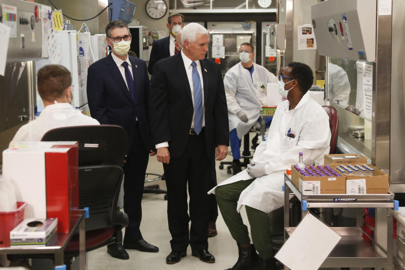 Vice President Mike Pence visits the molecular testing lab at the Mayo Clinic, choosing not to wear a face mask, an apparent violation of the world-renowned medical center's policy requiring them. Source: AP