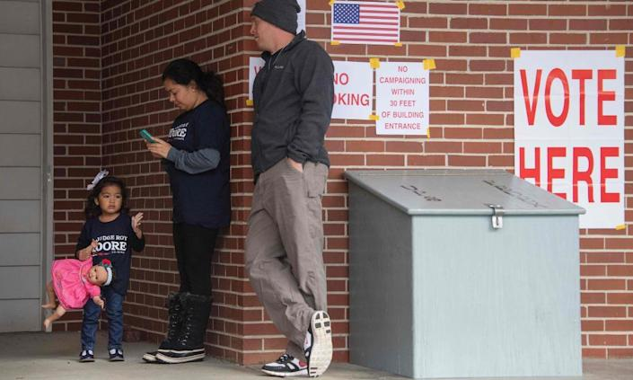 Voters at a polling station to vote in Gallant, Alabama on Tuesday.