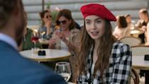 """<p>One of Field's favorite looks on Emily this season was a gingham short suit, which she paired with a bright red beret.</p><p>""""As Emily spends time in France, she mixes in a little bit of Paris to her wardrobe,"""" Field says. """"I thought that look was cute on her.""""</p>"""