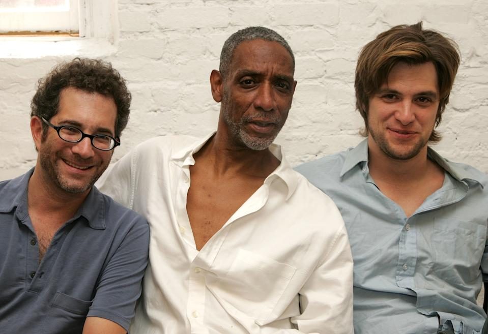 """NEW YORK - AUGUST 09: (EXCLUSIVE ACCESS) (L-R) Director Jonathan Silverstein and actors Thomas Jefferson Byrd and Shane McRae pose for pictures at the rehearsals for the upcoming play """"Red Herring"""" which is produced by American Idol finalist Katherine McPhee at The Players Theatre on August 9, 2006 in New York City. (Photo by Peter Kramer/Getty Images)"""