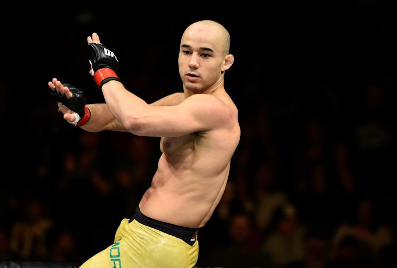 FRESNO, CA - DECEMBER 09: Marlon Moraes of Brazil celebrates his knockout victory over Aljamain Sterling in their bantamweight bout during the UFC Fight Night event inside Save Mart Center on December 9, 2017 in Fresno, California. (Photo by Jeff Bottari/Zuffa LLC/Zuffa LLC via Getty Images)
