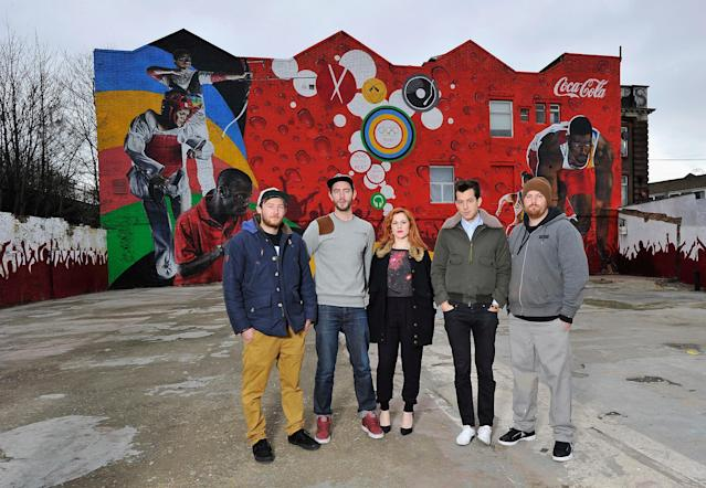 LONDON, ENGLAND - FEBRUARY 16: (L-R) Artists Hadley Ever, Neil Edward, Katy B, Mark Ronson and Sam Bates unveil the 'Beat Wall' during the launch of the Coca-Cola Move to the Beat campaign for the London 2012 Olympic Games in the shadow of the Olympic Stadium on February 16, 2012 in London, England. Coca Cola is launching the campaign in 11 countries. (Photo by Gareth Cattermole/Getty Images for Coca-Cola)