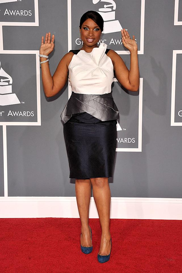 """Blah: The top of Jennifer Hudson's frock was fabulous, as was the skirt portion. The middle ... not so much. Frazer Harrison/<a href=""""http://www.gettyimages.com/"""" target=""""new"""">GettyImages.com</a> - February 8, 2009"""