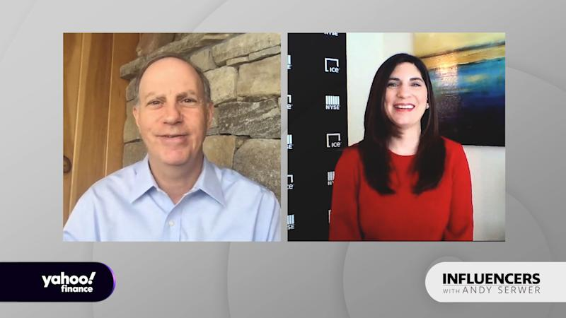 "Stacey Cunningham, president of the New York Stock Exchange, appears on ""Influencers with Andy Serwer."""