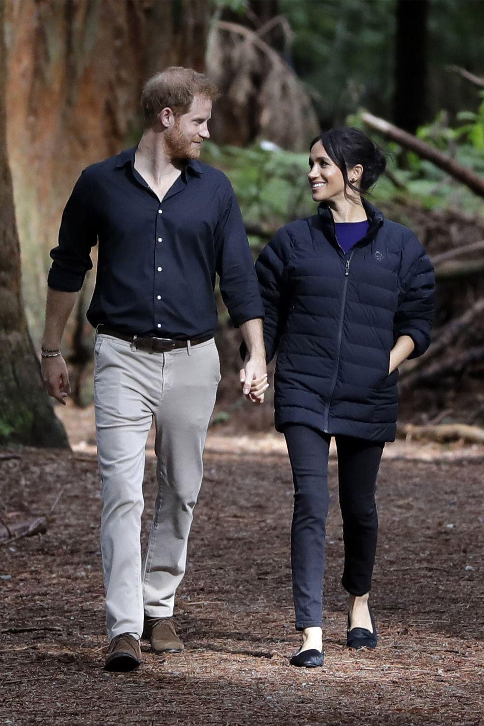 <p>Meghan and Harry make a visit to the Redwoods Tree Walk in Rotorua, New Zealand.</p>