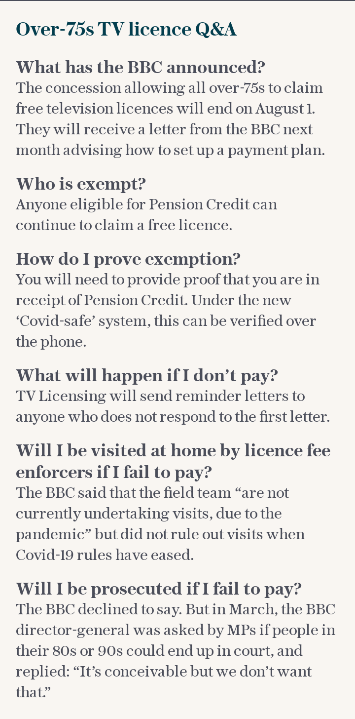 Over-75s TV licence Q&A