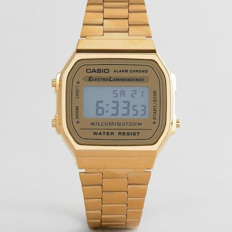 Casio A168WG-9EF Gold Plated Digital Watch - Credit: ASOS