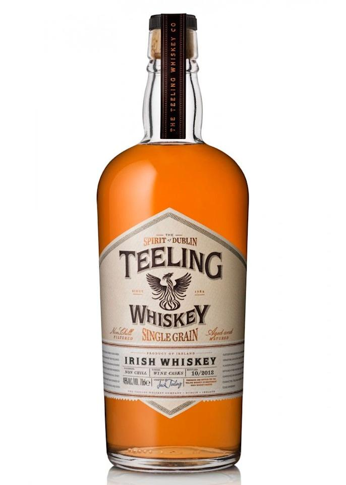 """<p><strong>Teeling</strong></p><p>drizly.com</p><p><strong>$51.99</strong></p><p><a href=""""https://go.redirectingat.com?id=74968X1596630&url=https%3A%2F%2Fdrizly.com%2Fliquor%2Fwhiskey%2Firish-whiskey%2Fteeling-single-grain-irish-whiskey%2Fp19596%3Fvariant%3D24714&sref=https%3A%2F%2Fwww.delish.com%2Fentertaining%2Fg31132182%2Fbest-irish-whiskey%2F"""" target=""""_blank"""">BUY NOW</a></p><p>If you're a fan of wine AND whiskey, you might be interested to know that Teeling ages its whiskey in Californian Cabernet Sauvignon casks. In the same spirit, this whiskey is smooth and almost fruity, making it perfect for year-round drinking. </p>"""