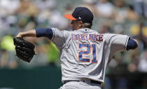 Houston Astros pitcher Zack Greinke works against the Oakland Athletics in the first inning of a baseball game Sunday, Aug. 18, 2019, in Oakland, Calif. (AP Photo/Ben Margot)