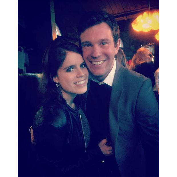 Twitter Image: Princess Eugenie and Jack Brooksbank holding each other with happiness