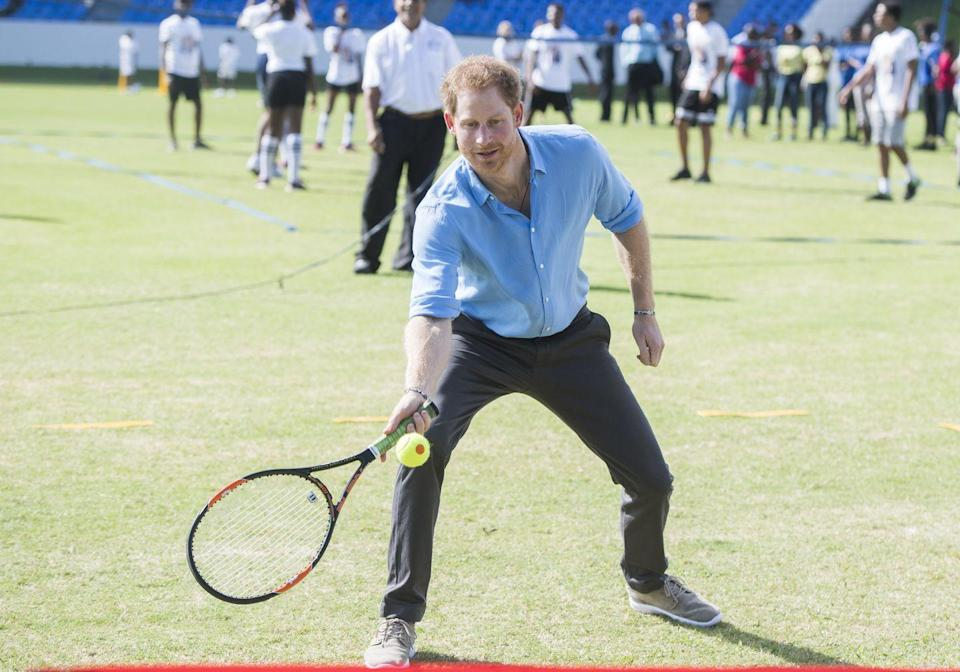 <p>During a Youth Sports Festival during his official visit to Antigua, Antigua and Barbuda, Prince Harry took a swing at a few tennis balls. </p>