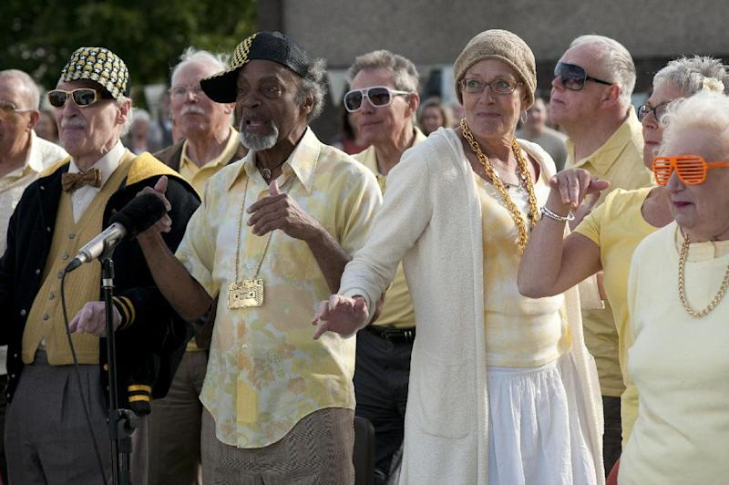 """This film image released by the Toronto International Film Festival shows Vanessa Redgrave, center right, as a terminally ill choir singer in a scene from """"Song for Marion."""" Festival rganizers announced Tuesday, Aug. 14, 2012, that Redgrave's """"Song for Marion"""" will close next month's Toronto festival, which runs Sept. 6 to 16 and is one of the key cinema gatherings that kick off Hollywood's fall movie lineup and Academy Awards season. (AP Photo/Toronto International Film Festival)"""