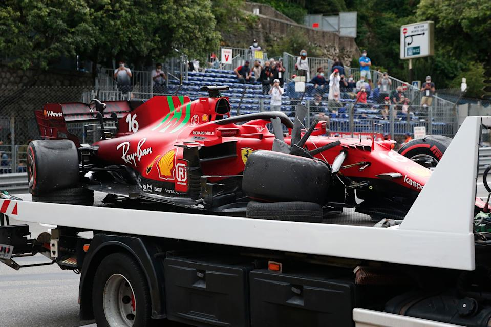 <p>Charles Leclerc's Ferrari sustained a lot of damage in Saturday's qualifying crash</p> (Getty Images)