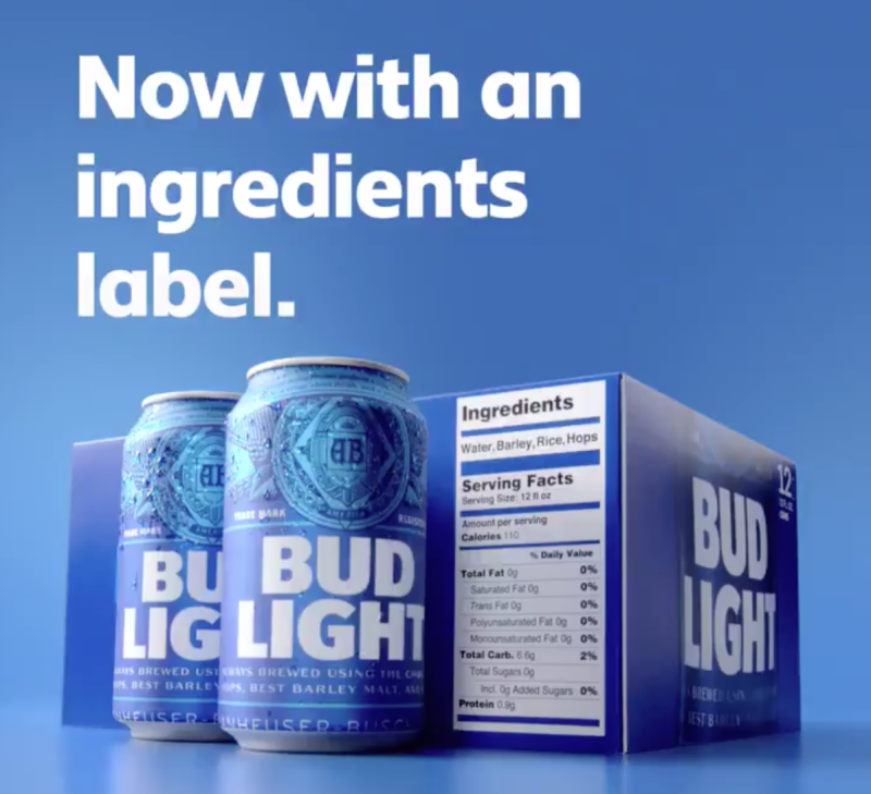 Bud Light debuts bigger nutrition labels - 1/11/2019 5:15:46 AM