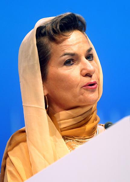 Christiana Figueres, Executive Secretary of the United Nations Framework Convention on Climate Change (UNFCCC) speaks at the opening session of the United Nations Climate Change conference in Doha, Qatar, Monday, Nov. 26, 2012. U.N. talks on a new climate pact resumed Monday in oil and gas-rich Qatar, where negotiators from nearly 200 countries will discuss fighting global warming and helping poor nations adapt to it. The two-decade-old talks have not fulfilled their main purpose: reducing the greenhouse gas emissions that scientists say are warming the planet. (AP Photo/Osama Faisal)