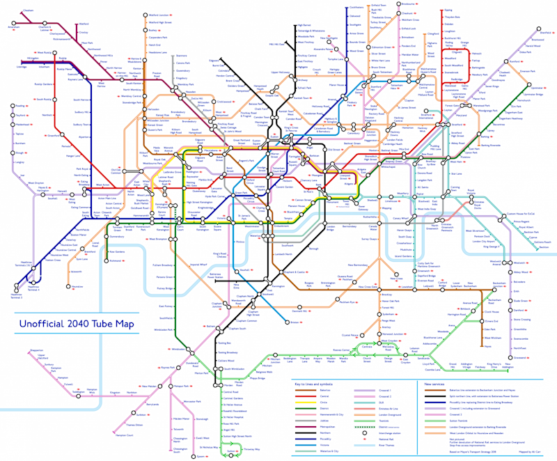 Unofficial Tube map: The design shows how the Underground may look by 2040 (Alastair Carr)