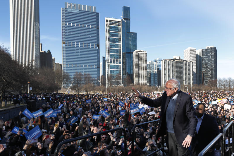 Democratic presidential candidate Sen. Bernie Sanders, I-Vt., waves to supporters after a campaign rally in Chicago's Grant Park Saturday, March 7, 2020. (AP Photo/Charles Rex Arbogast)