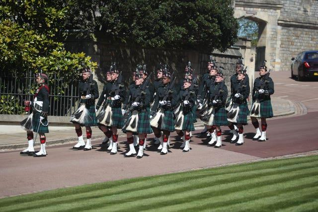 A detachment of the 4th Battalion The Royal Regiment of Scotland arrive at Windsor Castle, Berkshire, ahead of the funeral of the Duke of Edinburgh
