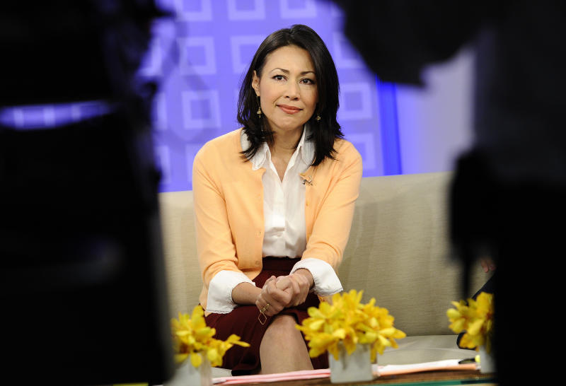 "FILE - This July 27, 2011 file photo released by NBC shows co-host Ann Curry on the ""Today"" show in New York.  Curry's last day as co-host of NBC's ""Today"" show was on Thursday, June 28, 2012. NBC's ""Today"" actually won Monday, Tuesday, Wednesday and Thursday in the ratings over ""Good Morning America"" last week. But on Friday, the day after Ann Curry made her tearful farewell from ""Today,"" the NBC show was crushed by a 670,000-viewer margin. (AP Photo/NBC, Peter Kramer)"
