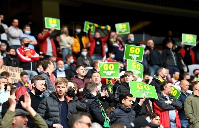 United fans held up anti-Glazer placards but there was no significant demonstration prior to kick-off