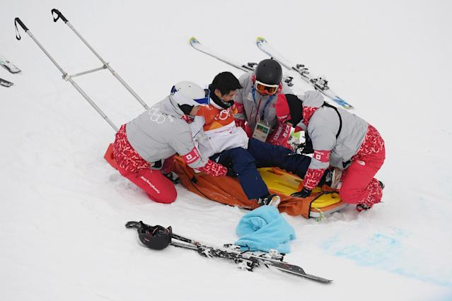Yuto Totsuka of Japan is attended to by medical staff after crashing during the Snowboard Men's Halfpipe Final on day five of the PyeongChang 2018 Winter Olympics. (Getty Images)