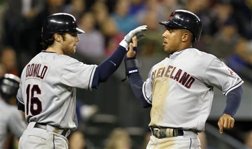 Cleveland Indians Jason Donald, left, and Michael Brantley share congratulations after scoring against the Seattle Mariners in the fifth inning of a baseball game Tuesday, April 17, 2012, in Seattle. (AP Photo/Elaine Thompson)