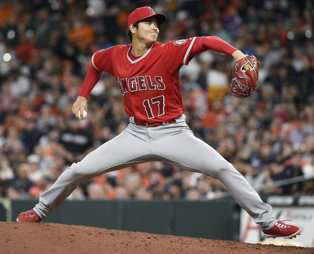 Shohei Ohtani delivers a pitch during the sixth inning against the Astros in Houston. (AP Photo)